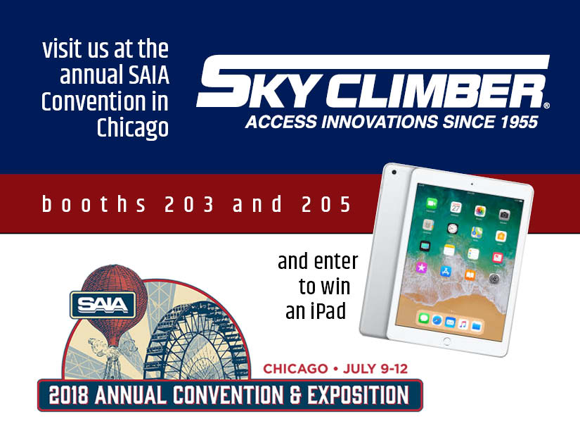 Visit Sky Climber at SAIA Convention and enter to win an iPad