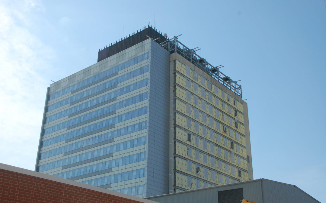 Glass panel install on historic VA hospital